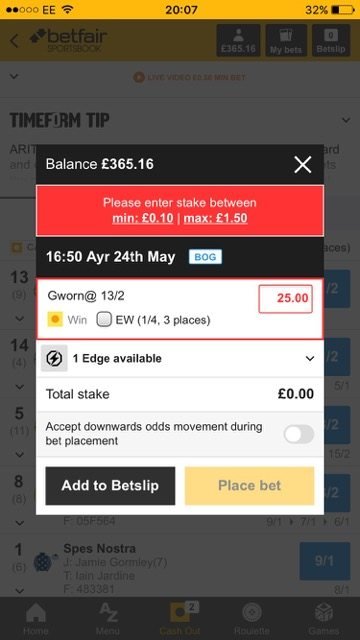 Maximum Stake has been capped to just £1.50!