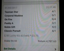 One very Happy Customer! 5/6 Winners with DG Tips